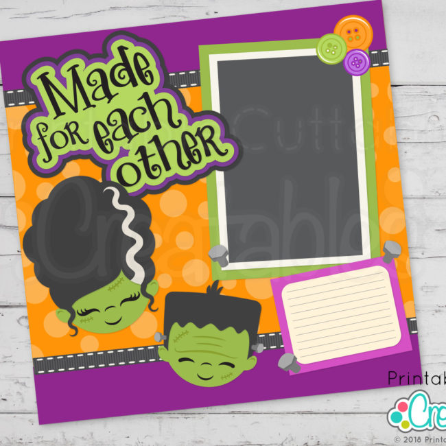 Cute Monster Bride Scrapbooking SVG Cut File
