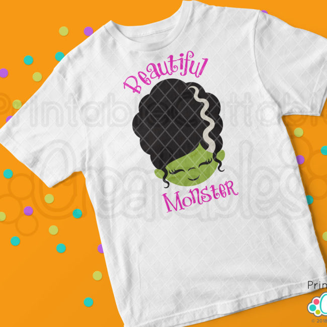 Cute Monster Bride Face SVG t-shirt design