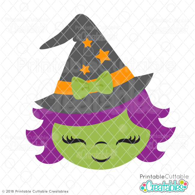 Cute Witch Face SVG File