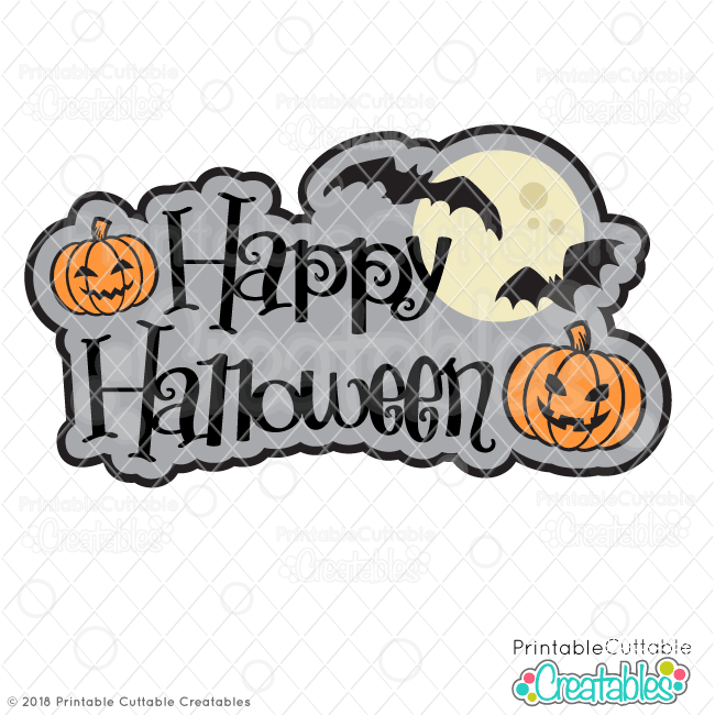 Happy Halloween FREE SVG file scrapbook title