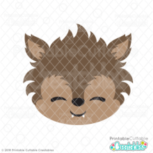 Cute Werewolf Face SVG File