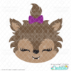 Cute Girl Werewolf Face SVG File