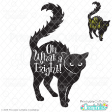 Scared Black Cat Knockout SVG design