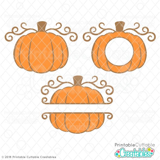 Swirly Pumpkin Split, Circle Monogram Frames Free