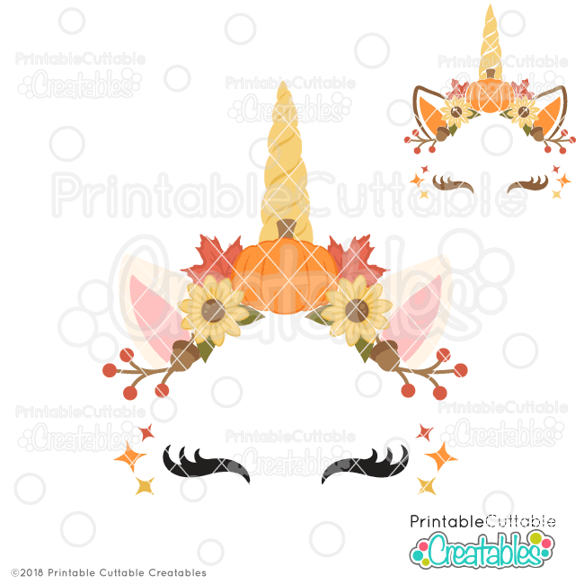 Autumn Unicorn Face Free SVG File