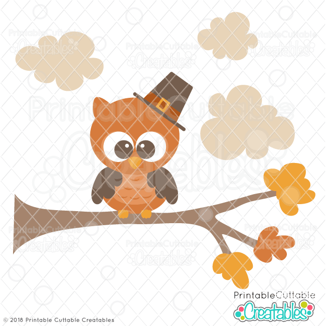 Cute Pilgrim Owl SVG File for scrapbooking