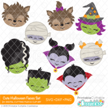 Cute Halloween Faces SVG File Bundle
