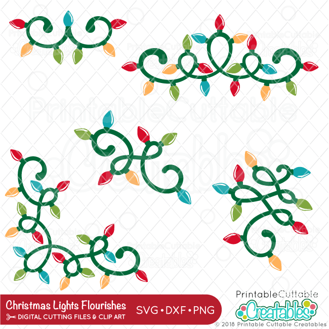 Christmas Lights Silhouette Png.Christmas Lights Flourishes Svg Files Set For Silhouette