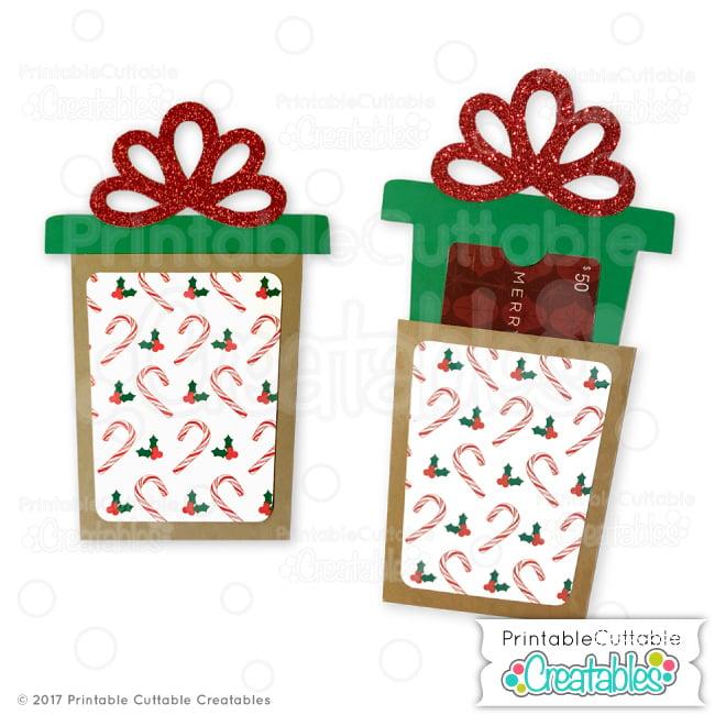 Christmas Present Gift Card Holder SVG File for Silhouette & Cricut