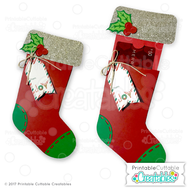 graphic relating to Printable Christmas Stocking known as Xmas Stocking Present Card Holder SVG Record for Silhouette