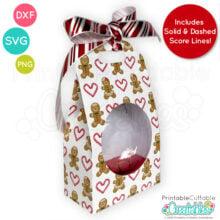 "Flat Disc Christmas Ornament Gift Box 3 ¼"" SVG Cut File"