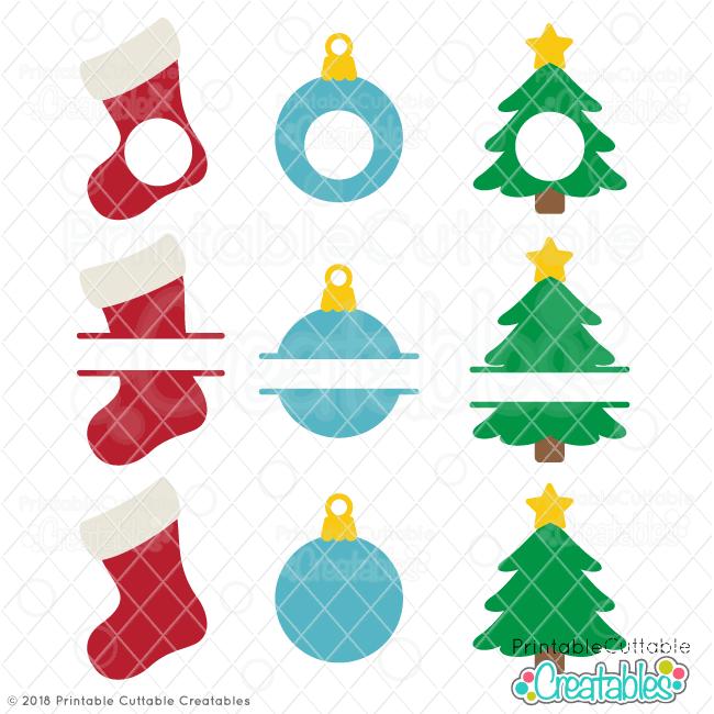 Christmas Monogram Frames Free SVG Files