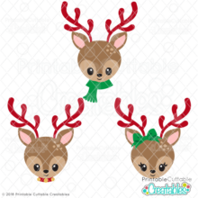 Christmas Reindeer Face SVG Files