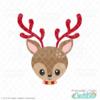Cute Christmas Reindeer Face SVG File & Clipart