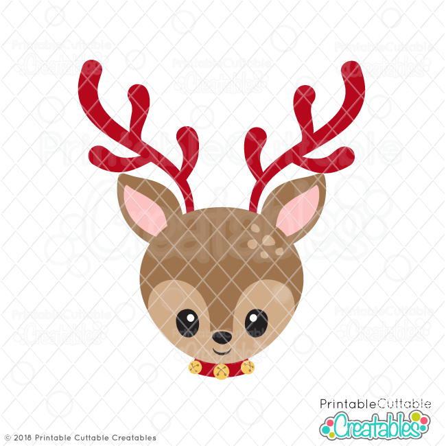 Christmas Reindeer Face Svg Files Cut Files For Silhouette Cricut
