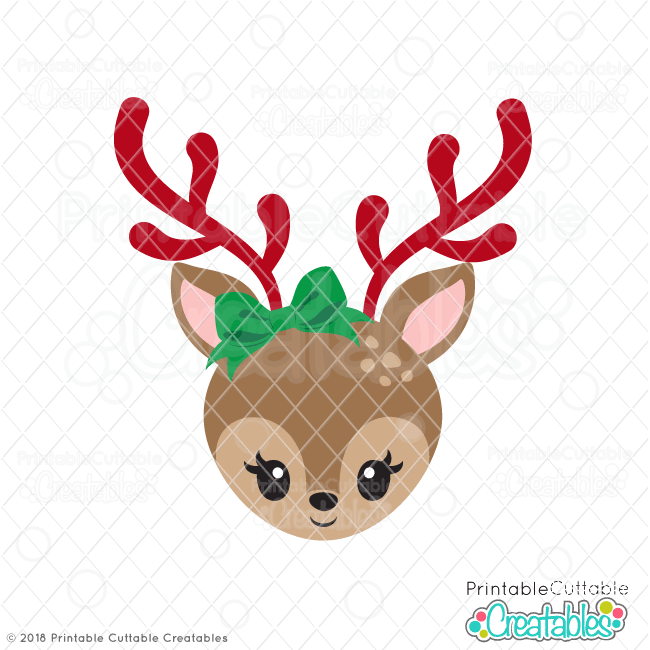 Cute Girl Reindeer Face SVG with Bow