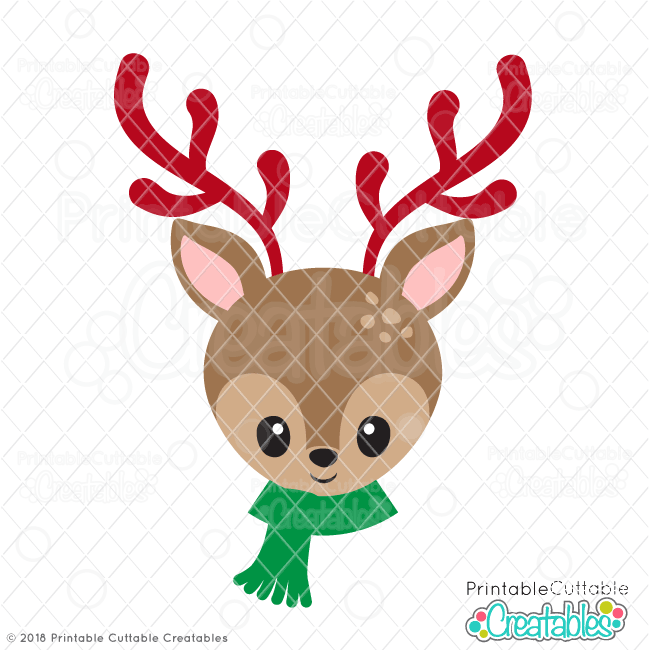 Cute Christmas Reindeer Face SVG with scarf