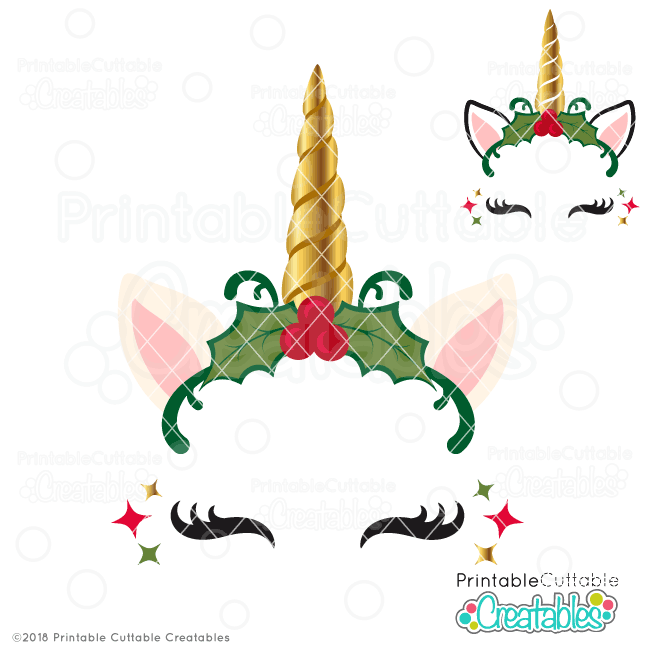 Christmas Holly Unicorn Face FREE SVG