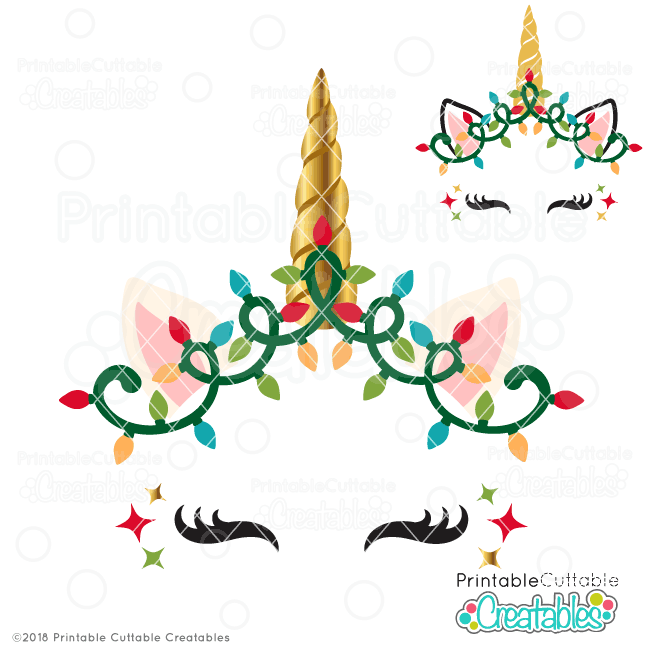 Christmas Lights Unicorn Face FREE SVG