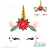 Christmas Poinsettia Unicorn Face FREE SVG
