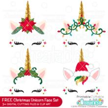 Christmas Unicorn Faces FREE SVG Bundle