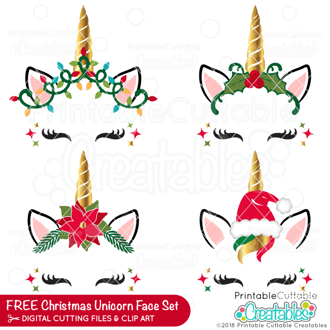 Christmas Unicorn Face FREE SVG Bundle