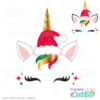 Santa Hat Unicorn Face FREE SVG