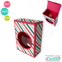Flat Disc Christmas Ornament Box SVG File
