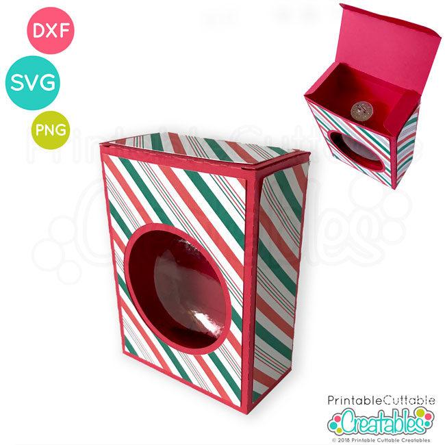 Flat Disc Christmas Ornament Box SVG File