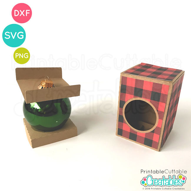 "Round Ornament Box 3"" SVG File Template"