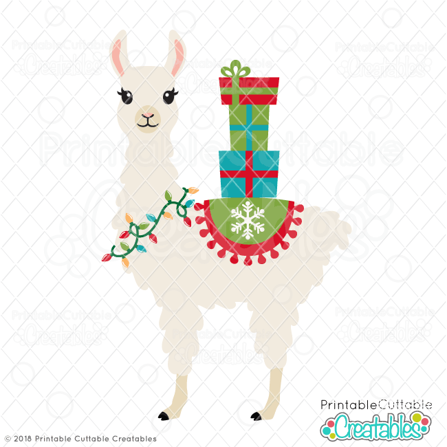 Christmas Llama.Christmas Llama Svg File Clipart Svg Cut Files For