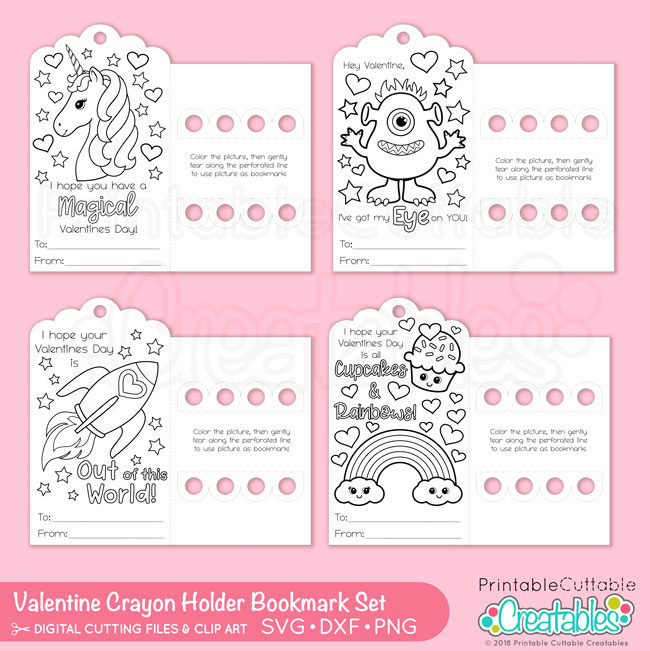Valentine Bookmark Crayon Holder SVG Files