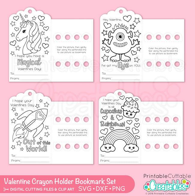 Valentine Bookmark Crayon Holder SVG Files