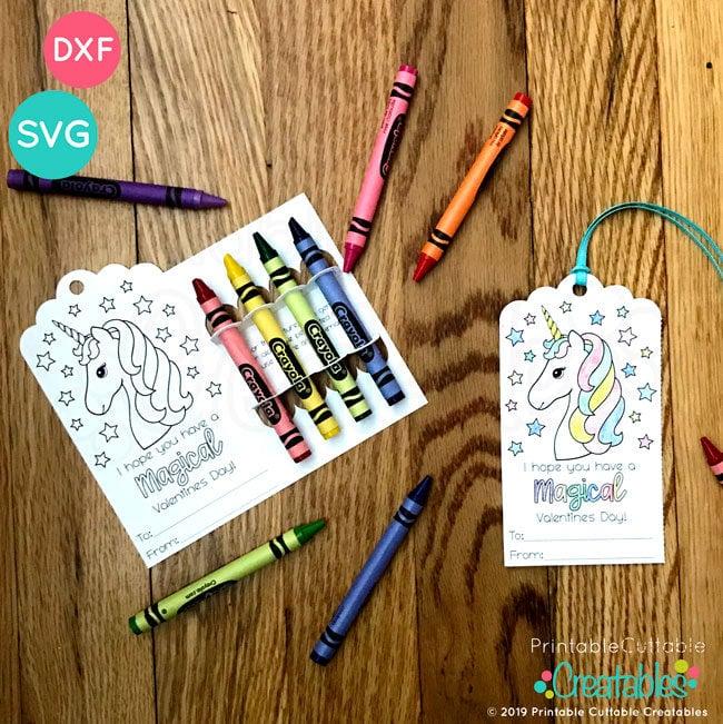 Valentine's Day Bookmark Crayon Holder SVG Templates