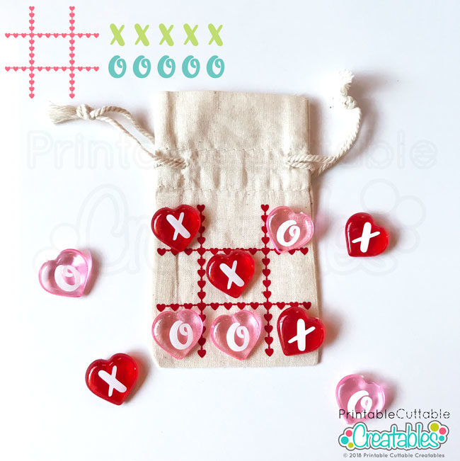 Valentine's Day Tic Tac Toe board Free SVG