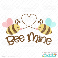 Valentine Bee Mine Free SVG File