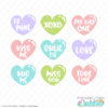Valentine Hearts Sentiments FREE SVG Files