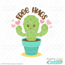 Free Hugs Cactus SVG File