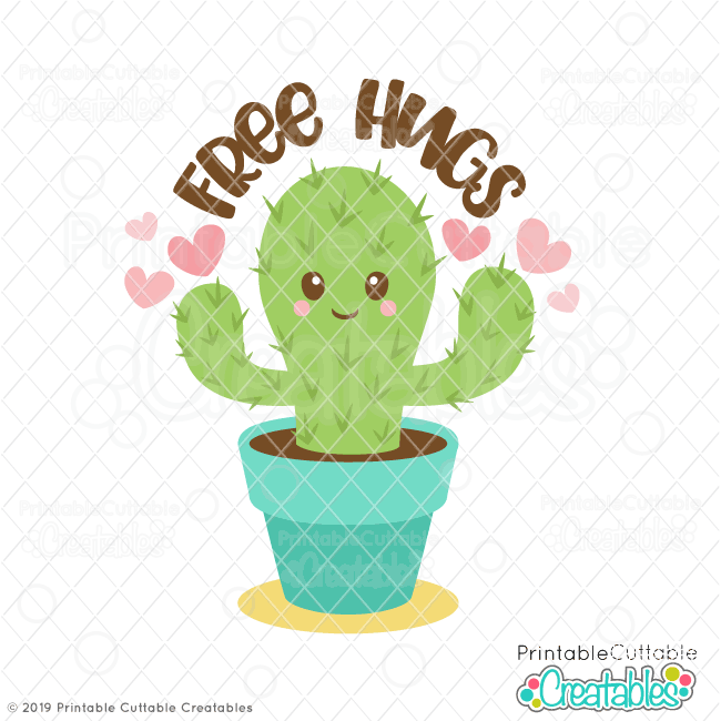 photo relating to Printable Cuttable Creatables identify Valentines Working day No cost Hugs Cactus SVG Report for Silhouette