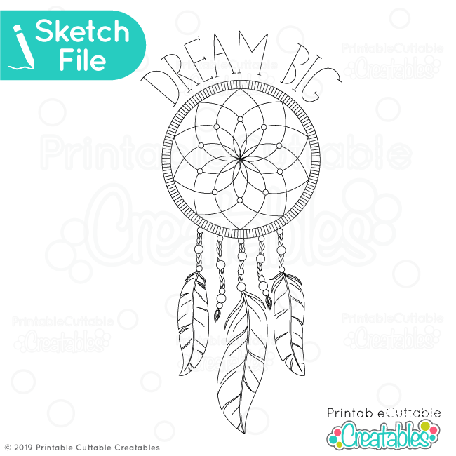 Dream Big Dreamcatcher Single Line SVG Sketch File