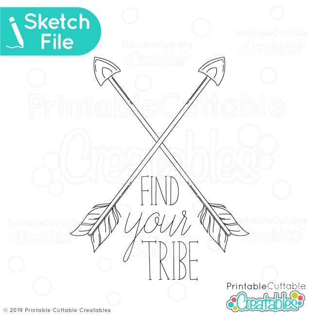 Find Your Tribe Crossed Arrows SVG Sketch File