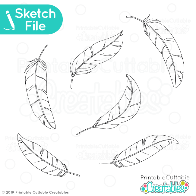 Feathers Single Line SVG Sketch Files for Silhouette Cricut