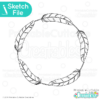 Feather Circle Monogram Frame SVG Sketch File
