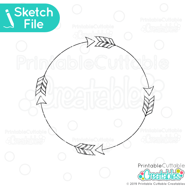 Arrow Circle Monogram Frame Free SVG Sketch File