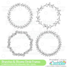 Branches & Blooms Circle Monogram Frames SVG Sketch Set