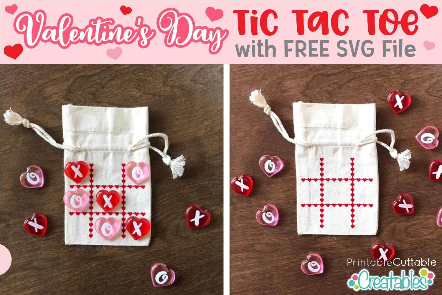 Valentine Tic Tac Toe Bag Free SVG file