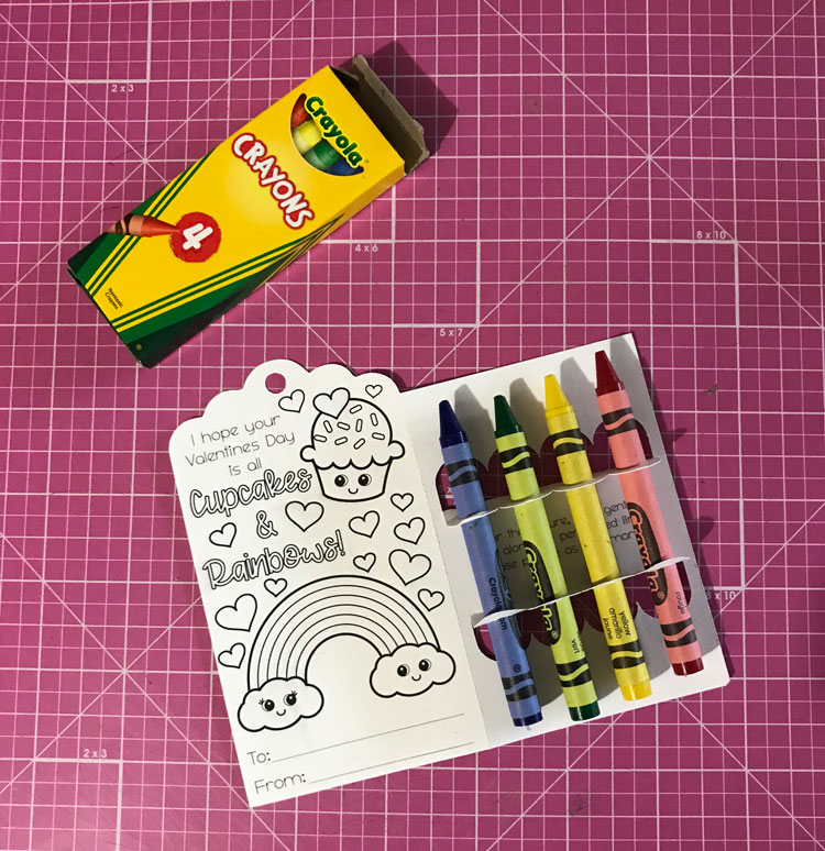 Mini Crayon 4 ct. Boxes for coloring page valentine cards