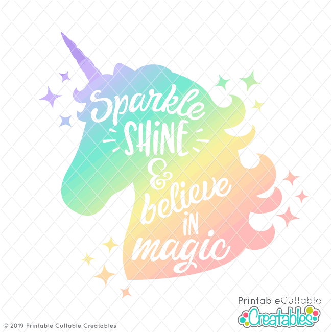 E446FB Believe in Magic Unicorn Knockout Free SVG file preview