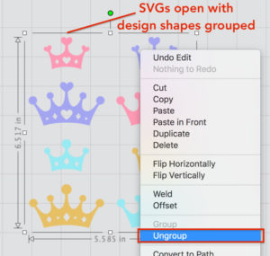 Right-Click to Ungroup SVG design in Silhouette Studio