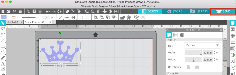 Click Send to open Silhouette Studio Send Panel
